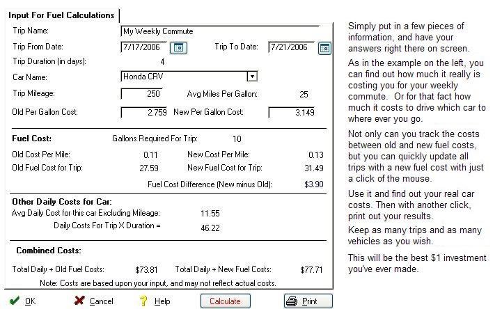 Fuel Calculator Screen shot